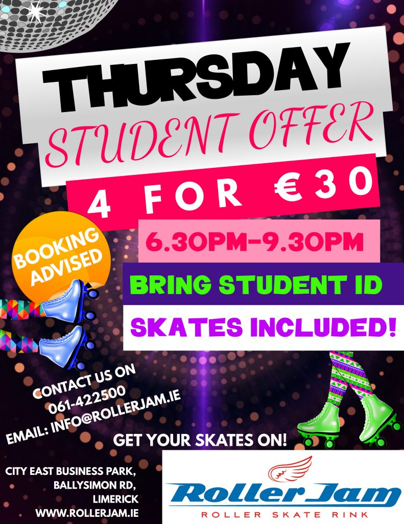 Special offer for students at rollerjam thursday night